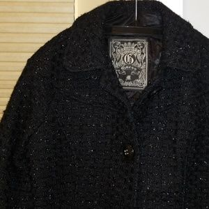 GUESS NWOT wool blend sparkle thread coat